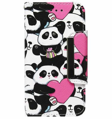 ADEL Kunstleren Book Case Pasjes Hoesje voor Samsung Galaxy J7 (2017) - Panda Hartjes