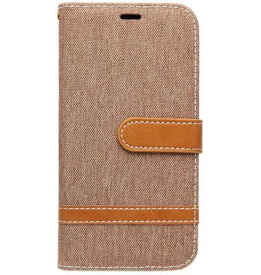 ADEL Kunstleren Book Case Pasjes Hoesje voor Samsung Galaxy J7 (2017) - Stoffen Design Bruin