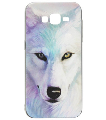ADEL Siliconen Back Cover Softcase Hoesje voor Samsung Galaxy J7 (2015) - Wolf Lichtblauw