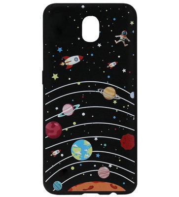 ADEL Siliconen Back Cover Softcase Hoesje voor Samsung Galaxy J7 (2017) - Heelal Ruimte