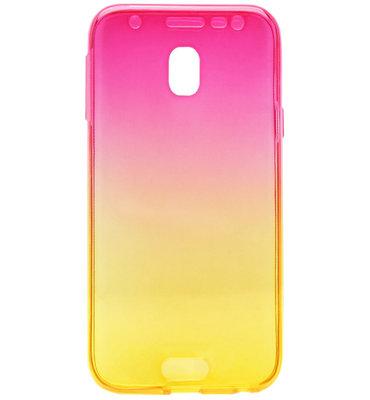 ADEL Siliconen Full Body 360 Graden Softcase Hoesje voor Samsung Galaxy J7 (2017) - Kleurovergang Roze Geel