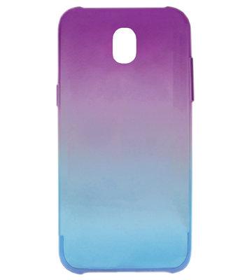 ADEL Siliconen Full Body 360 Graden Softcase Hoesje voor Samsung Galaxy J7 (2017) - Kleurovergang Paars Blauw