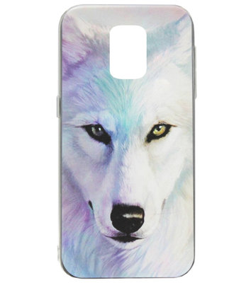 ADEL Siliconen Back Cover Softcase Hoesje voor Samsung Galaxy S5 (Plus)/ S5 Neo - Wolf Lichtblauw