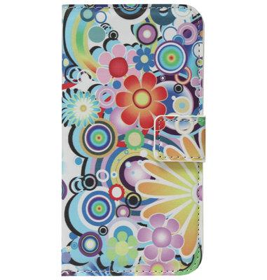 ADEL Kunstleren Book Case Pasjes Hoesje voor Samsung Galaxy J7 (2017) - Bloemen Kleur