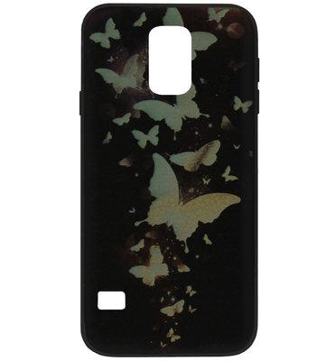 ADEL Siliconen Back Cover Softcase Hoesje voor Samsung Galaxy S5 (Plus)/ S5 Neo - Vlinder Goud