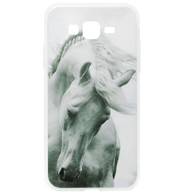 ADEL Siliconen Back Cover Softcase Hoesje voor Samsung Galaxy J7 (2015) - Paarden Wit