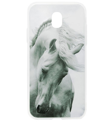 ADEL Siliconen Back Cover Softcase Hoesje voor Samsung Galaxy J7 (2017) - Paarden Wit