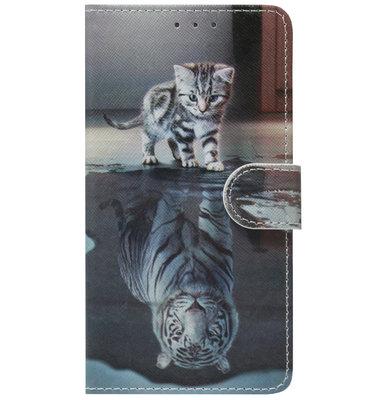 ADEL Kunstleren Book Case Pasjes Hoesje voor Samsung Galaxy A50(s)/ A30s - Poezen Schaduw Tijger