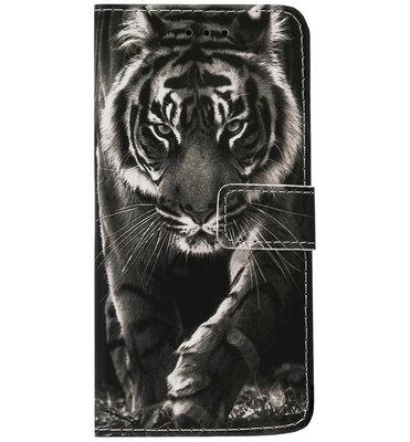ADEL Kunstleren Book Case Pasjes Hoesje voor Samsung Galaxy A50(s)/ A30s - Tijger Zwart