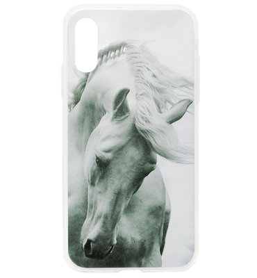 ADEL Siliconen Back Cover Softcase Hoesje voor Samsung Galaxy A50(s)/ A30s - Paarden Wit
