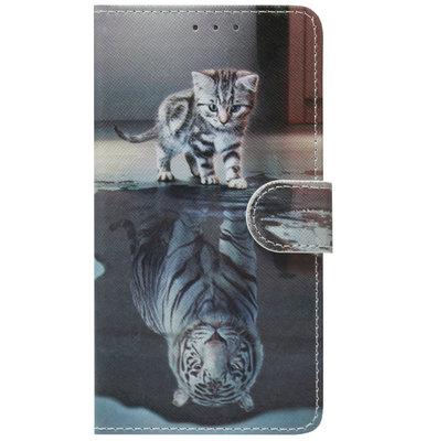 ADEL Kunstleren Book Case Pasjes Hoesje voor Samsung Galaxy A70(s) - Poezen Schaduw Tijger