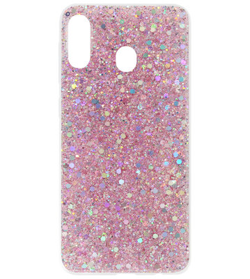 ADEL Premium Siliconen Back Cover Softcase Hoesje voor Samsung Galaxy A40 - Bling Bling Roze
