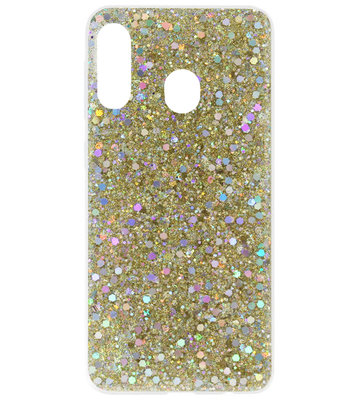 ADEL Premium Siliconen Back Cover Softcase Hoesje voor Samsung Galaxy A40 - Bling Bling Goud