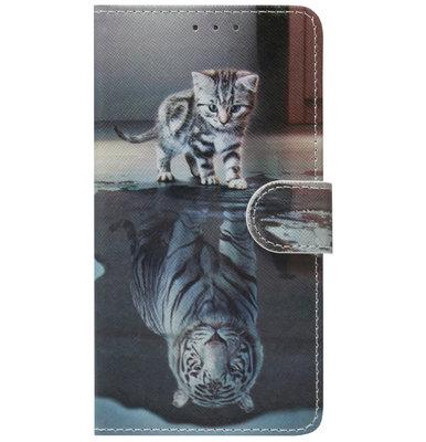 ADEL Kunstleren Book Case Pasjes Hoesje voor Samsung Galaxy A40 - Poezen Schaduw Tijger