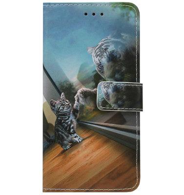 ADEL Kunstleren Book Case Pasjes Hoesje voor Samsung Galaxy A40 - Poezen Tijger