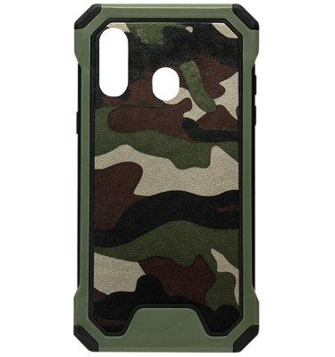 ADEL Kunststof Bumper Hardcase Hoesje voor Samsung Galaxy A40 - Camouflage Groen