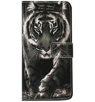 ADEL Kunstleren Book Case Pasjes Hoesje voor Samsung Galaxy A40 - Tijger Zwart
