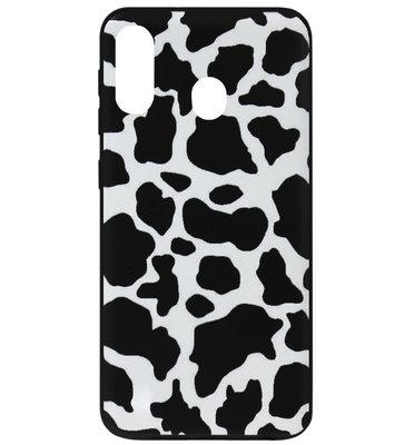 ADEL Siliconen Back Cover Softcase Hoesje voor Samsung Galaxy A40 - Koeienhuid Zwart