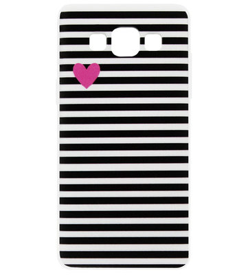 ADEL Siliconen Back Cover Softcase Hoesje voor Samsung Galaxy A5 (2015) - Hartjes Streepjes