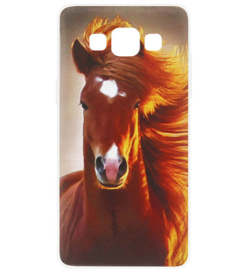 ADEL Siliconen Back Cover Softcase Hoesje voor Samsung Galaxy A5 (2015) - Paarden Bruin