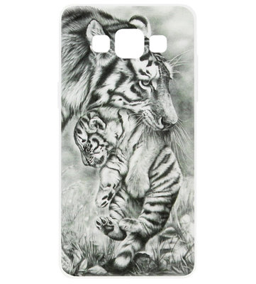 ADEL Siliconen Back Cover Softcase Hoesje voor Samsung Galaxy A5 (2015) - Tijger Familie