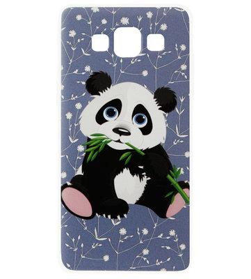 ADEL Siliconen Back Cover Softcase Hoesje voor Samsung Galaxy A5 (2015) - Panda met Blaadje