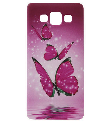 ADEL Siliconen Back Cover Softcase Hoesje voor Samsung Galaxy A5 (2015) - Vlinder Roze