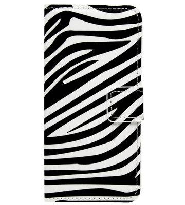 ADEL Kunstleren Book Case Portemonnee Pasjes Hoesje voor Samsung Galaxy A5 (2015) - Zebra