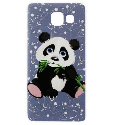 ADEL Siliconen Back Cover Softcase Hoesje voor Samsung Galaxy A3 (2016) - Panda met Blaadje
