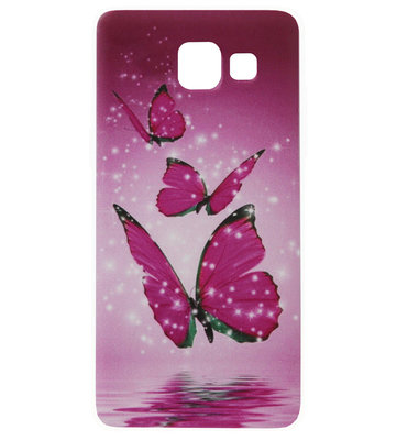 ADEL Siliconen Back Cover Softcase Hoesje voor Samsung Galaxy A3 (2016) - Vlinder Roze