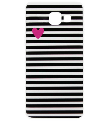 ADEL Siliconen Back Cover Softcase Hoesje voor Samsung Galaxy A3 (2016) - Hartjes Streepjes
