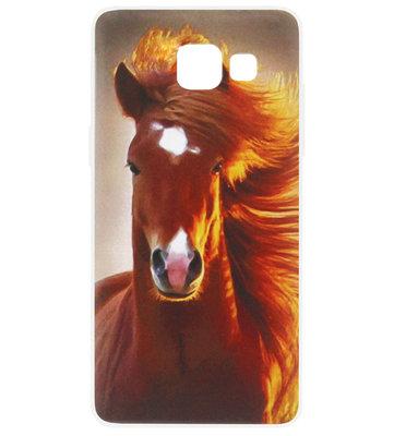 ADEL Siliconen Back Cover Softcase Hoesje voor Samsung Galaxy A3 (2016) - Paarden Bruin