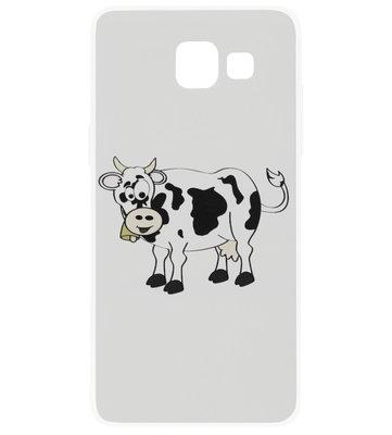 ADEL Siliconen Back Cover Softcase Hoesje voor Samsung Galaxy A3 (2017) - Koeien Zwart