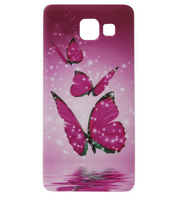 ADEL Siliconen Back Cover Softcase Hoesje voor Samsung Galaxy A5 (2017) - Vlinder Roze