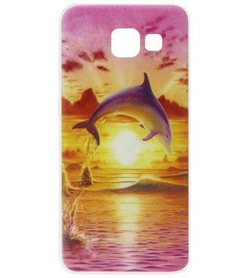 ADEL Siliconen Back Cover Softcase Hoesje voor Samsung Galaxy A3 (2017) - Dolfijn Roze