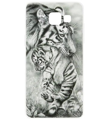 ADEL Siliconen Back Cover Softcase Hoesje voor Samsung Galaxy A3 (2017) - Tijger Familie