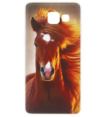 ADEL Siliconen Back Cover Softcase Hoesje voor Samsung Galaxy A5 (2017) - Paarden Bruin