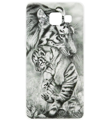 ADEL Siliconen Back Cover Softcase Hoesje voor Samsung Galaxy A5 (2017) - Tijger Familie