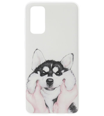 ADEL Siliconen Back Cover Softcase Hoesje voor Samsung Galaxy S20 - Husky Hond