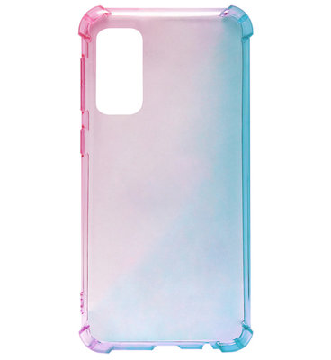 ADEL Siliconen Back Cover Softcase Hoesje voor Samsung Galaxy S20 - Kleurovergang Roze Blauw