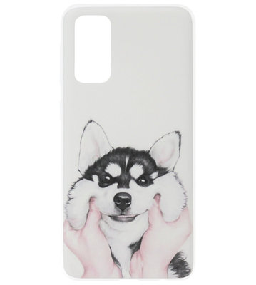 ADEL Siliconen Back Cover Softcase Hoesje voor Samsung Galaxy S20 Plus - Husky Hond