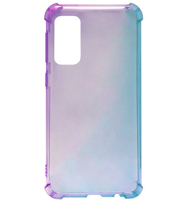 ADEL Siliconen Back Cover Softcase Hoesje voor Samsung Galaxy S20 Plus - Kleurovergang Paars Blauw