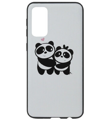 ADEL Siliconen Back Cover Softcase Hoesje voor Samsung Galaxy S20 Ultra - Panda Familie