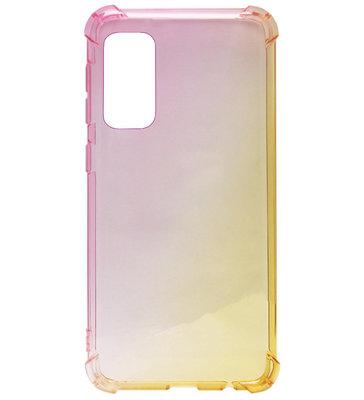 ADEL Siliconen Back Cover Softcase Hoesje voor Samsung Galaxy S20 Ultra - Kleurovergang Roze Geel