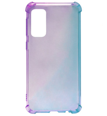 ADEL Siliconen Back Cover Softcase Hoesje voor Samsung Galaxy S20 Ultra - Kleurovergang Paars Blauw