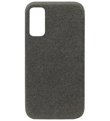 ADEL Kunststof Back Cover Hardcase Hoesje voor Samsung Galaxy S20 - Stoffen Design Grijs