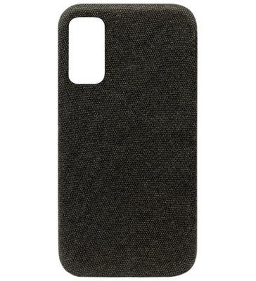 ADEL Kunststof Back Cover Hardcase Hoesje voor Samsung Galaxy S20 - Stoffen Design Zwart