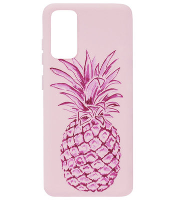 ADEL Siliconen Back Cover Softcase Hoesje voor Samsung Galaxy S20 Plus - Ananas Roze