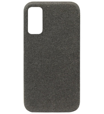ADEL Kunststof Back Cover Hardcase Hoesje voor Samsung Galaxy S20 Plus - Stoffen Design Grijs
