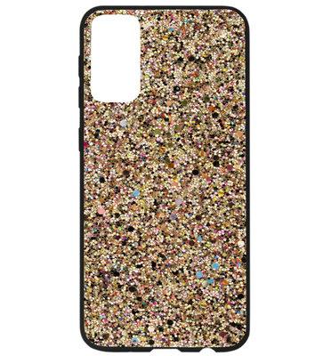 ADEL Kunststof Back Cover Hardcase Hoesje voor Samsung Galaxy S20 - Bling Bling Glitter Goud
